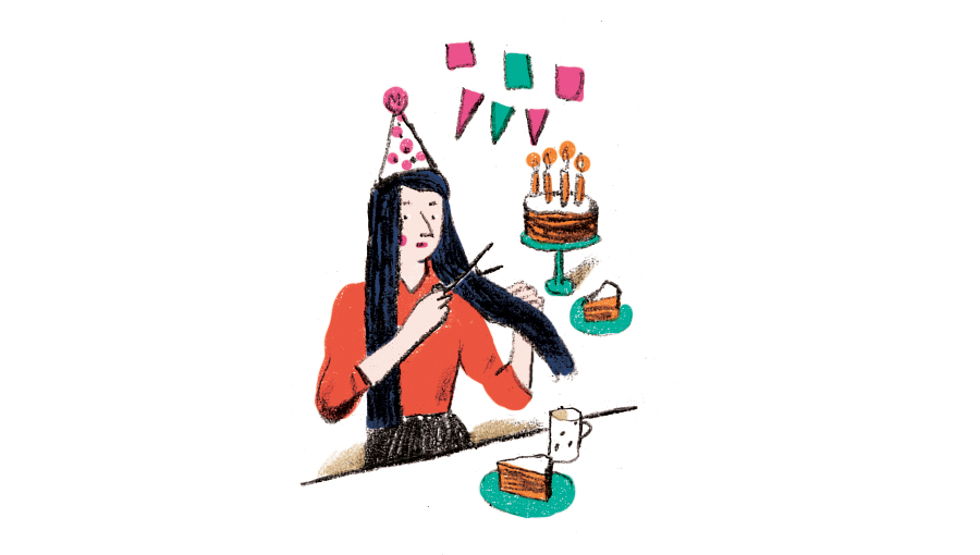 Illustration: woman cutting hair on her birthday