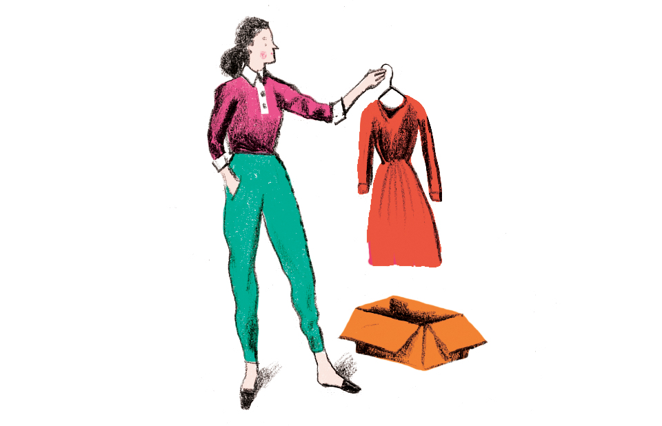 Illustration: woman pulling tiny dress out of box