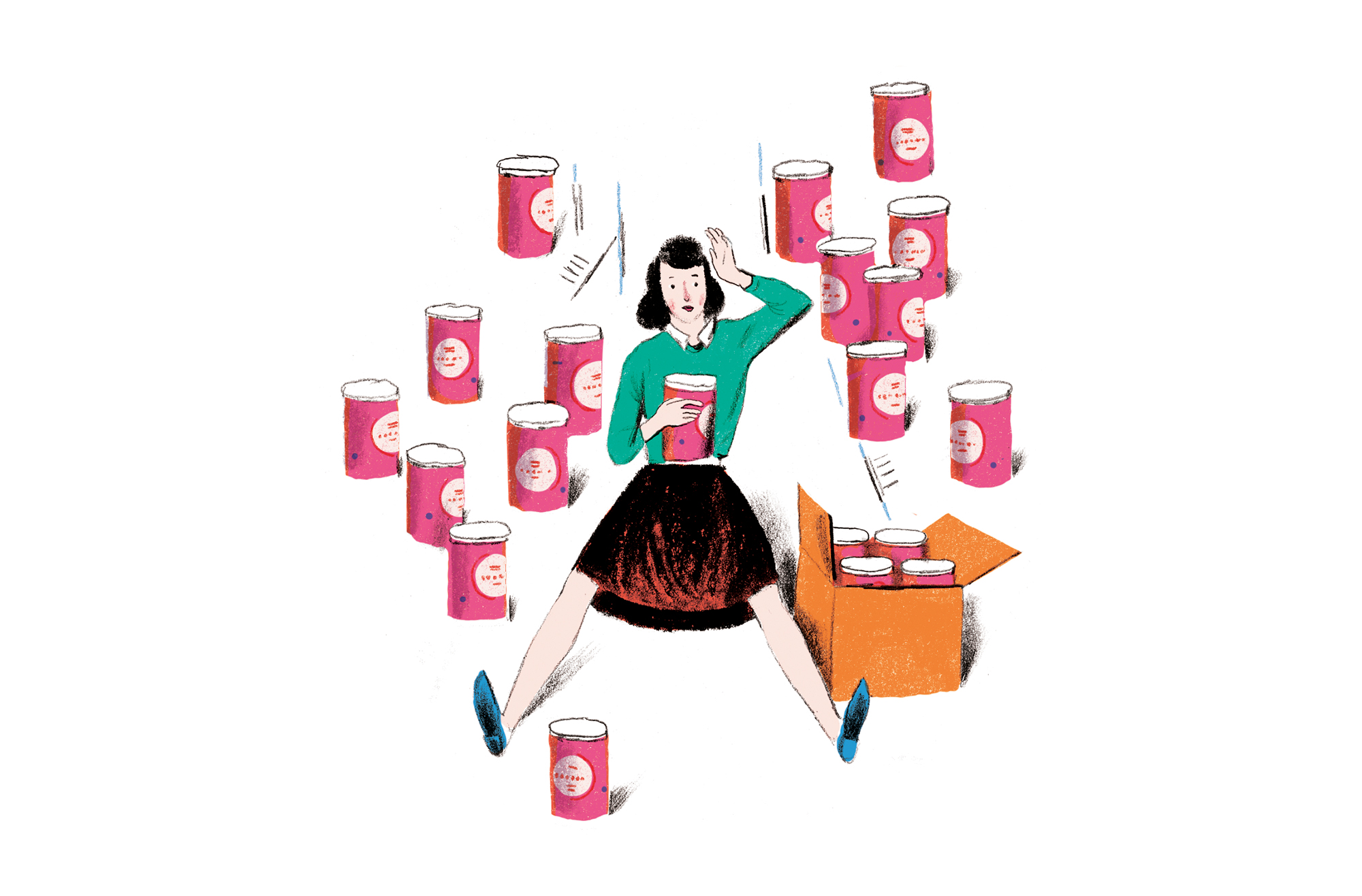 Illustration: woman buying cans in bulk