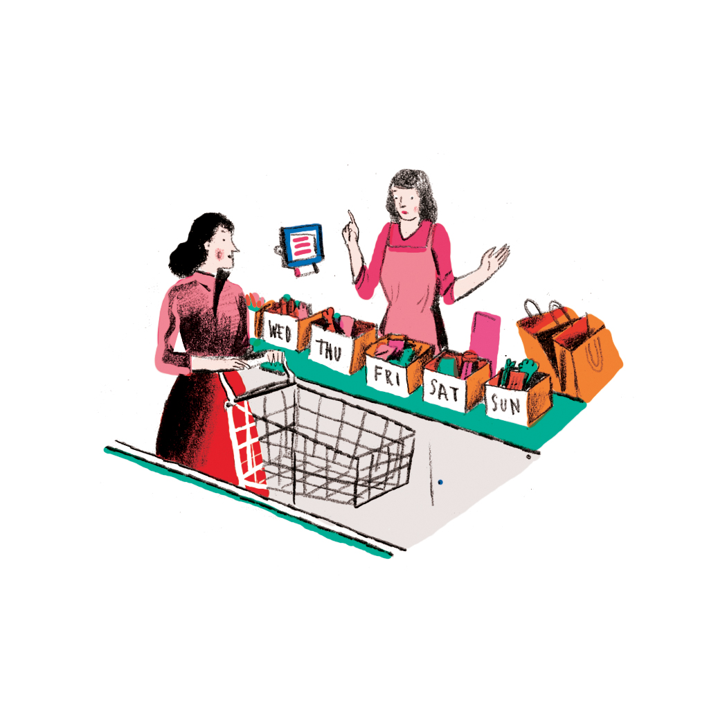 Illustration: woman shopping for entire week