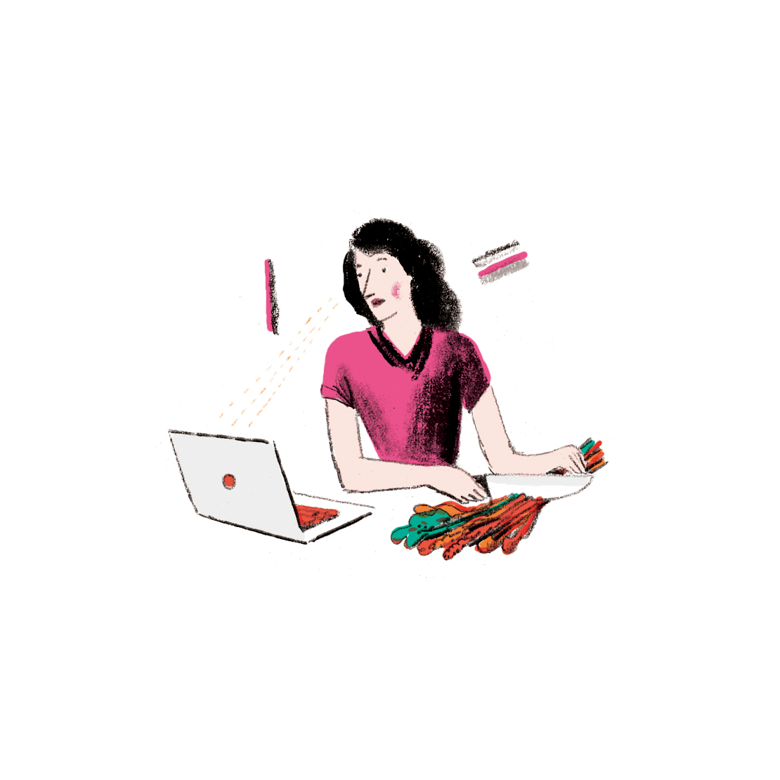 Illustration: woman chopping vegetables while on the computer