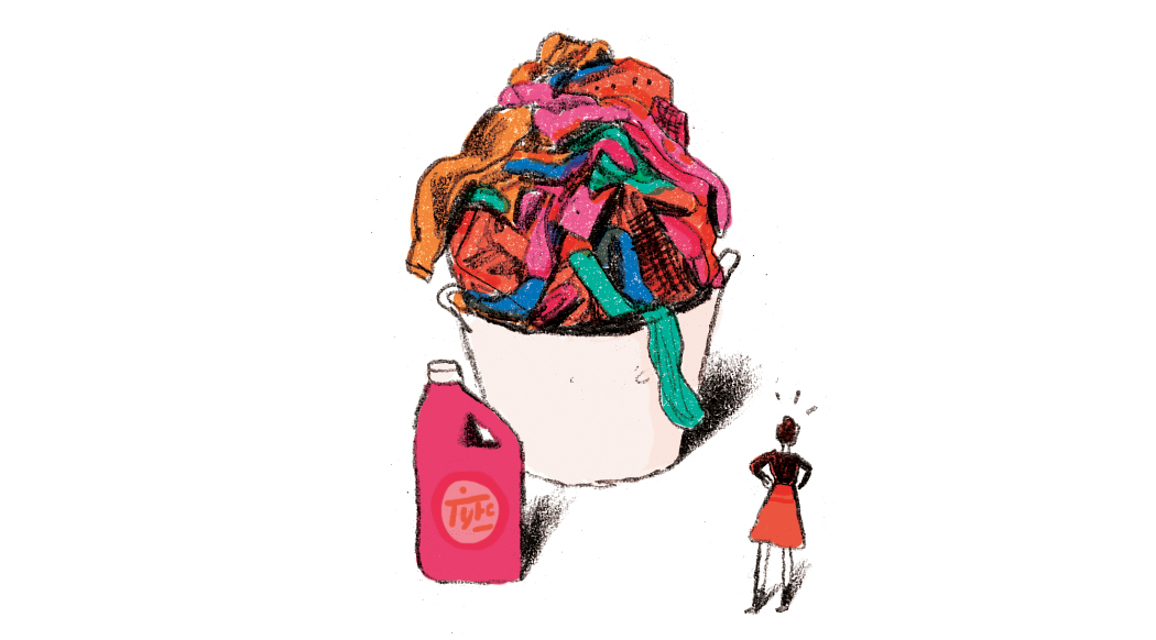 Illustration: woman looking up at huge basket of laundry