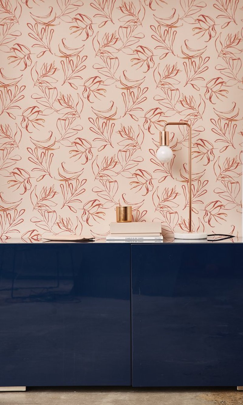 Botany floral removable wallpaper above console