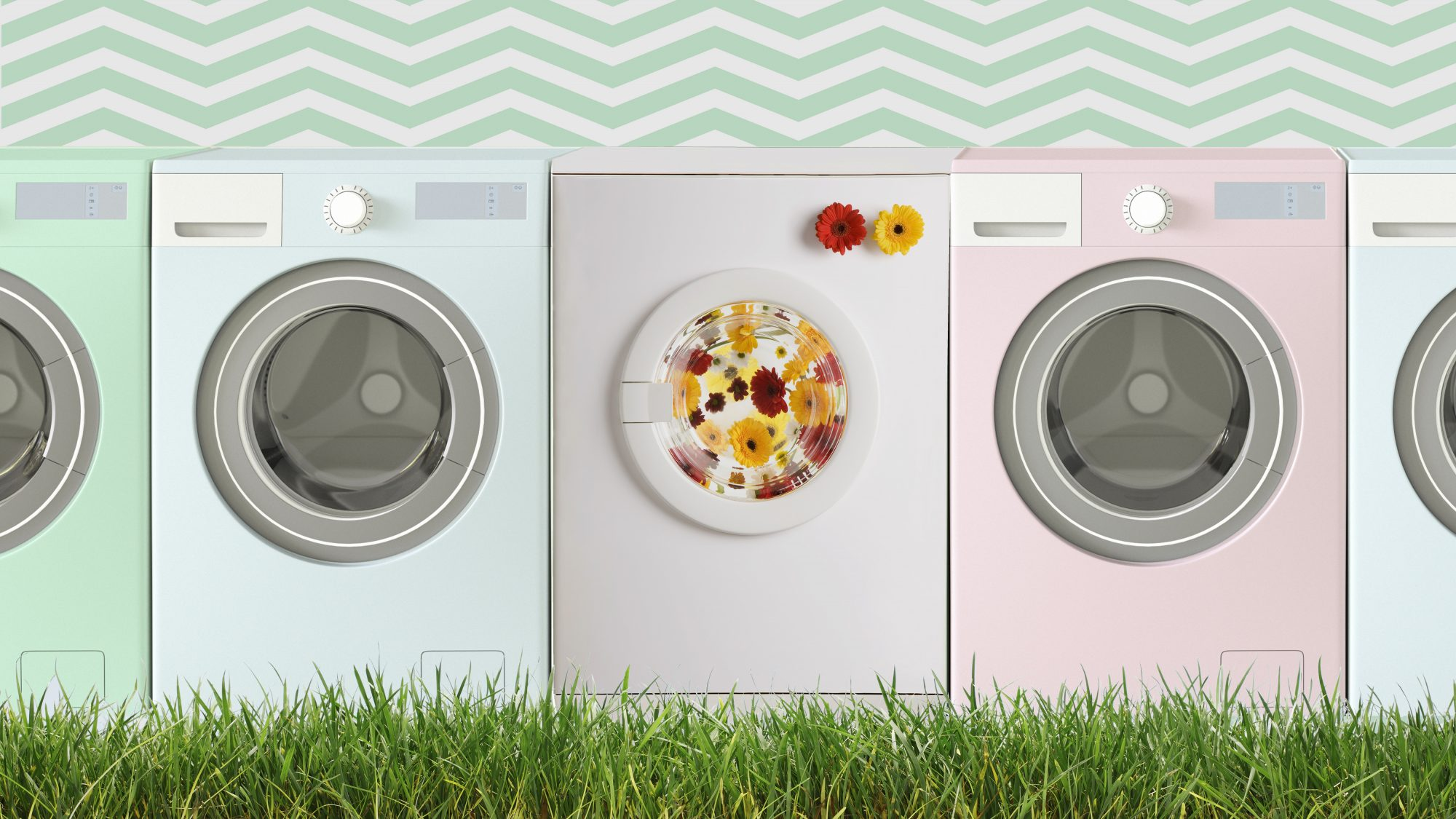 Chemical-Free Natural Laundry Tips, colorful laundry machines
