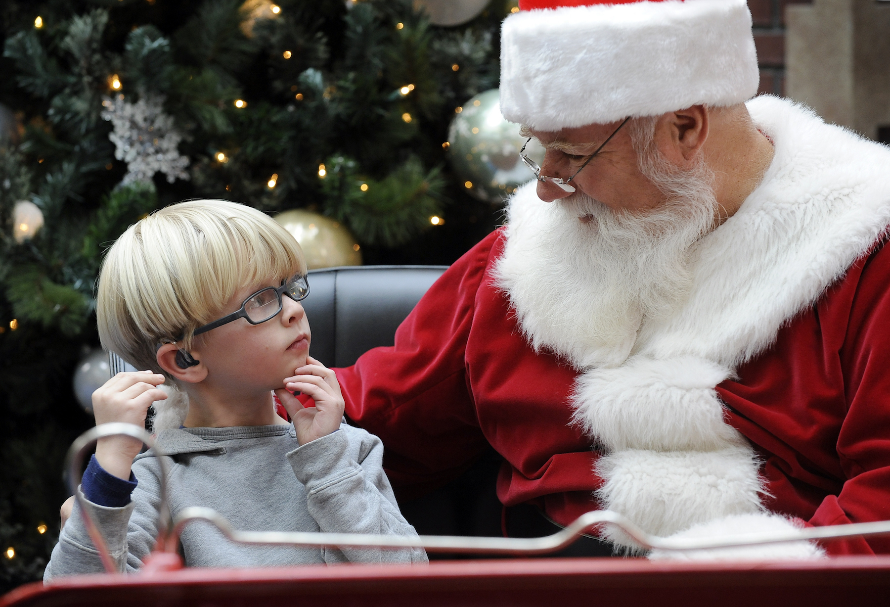 Deaf child with Santa