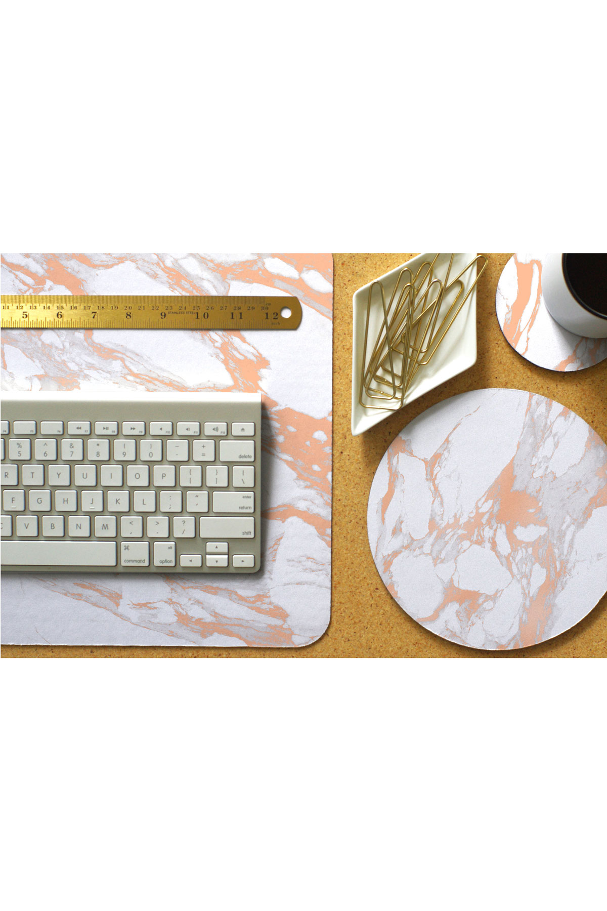 Rose Gold and White Marble Desk Mat, Mouse Pad, and Coaster Set