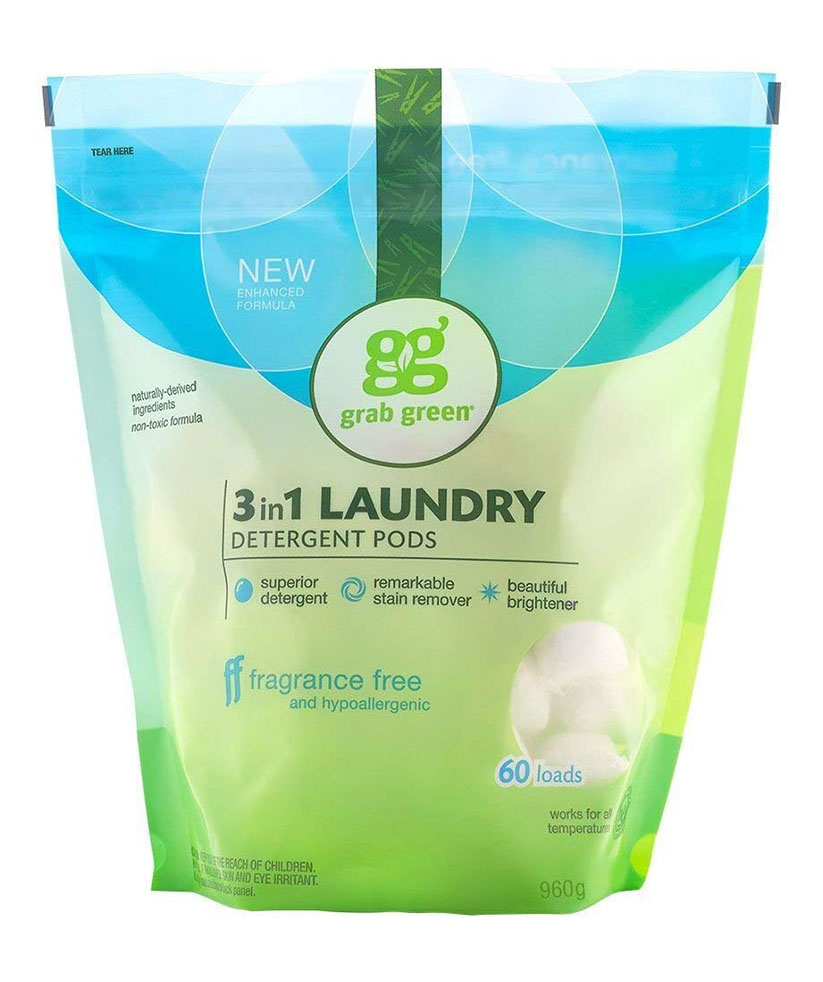 Grab Green Natural Fragrance Free 3-in-1 Laundry Detergent Pods, 60 Loads
