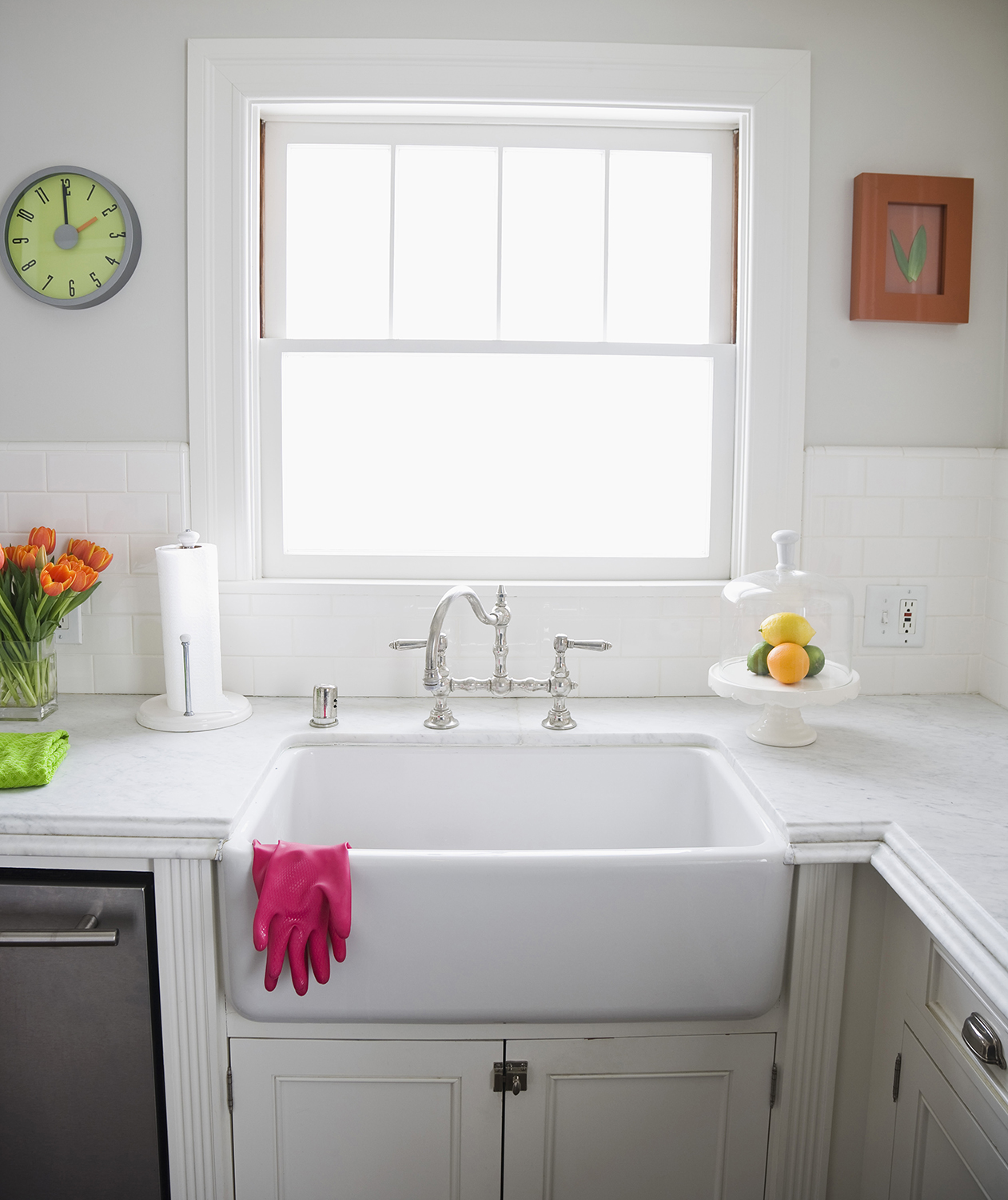 White kitchen with color accents