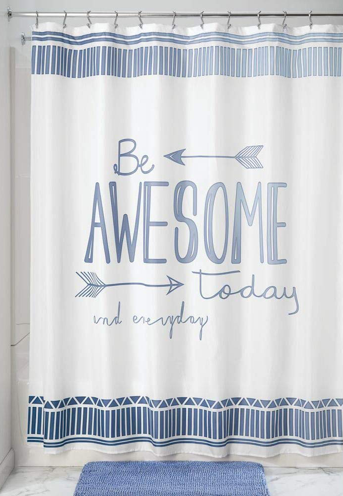 mDesign Decorative Be Awesome Quote Fabric Shower Curtain