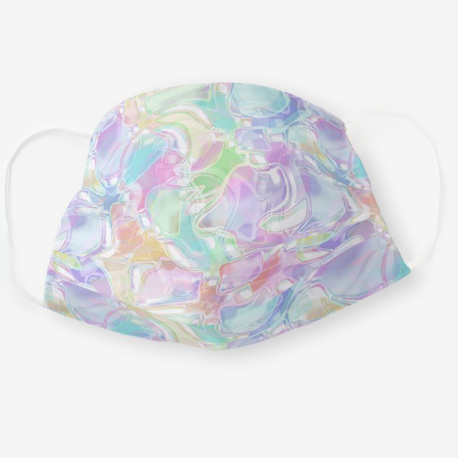Zazzle Hip Pastel Pink Violet Blue Green Turquoise Swirls Cloth Face Mask