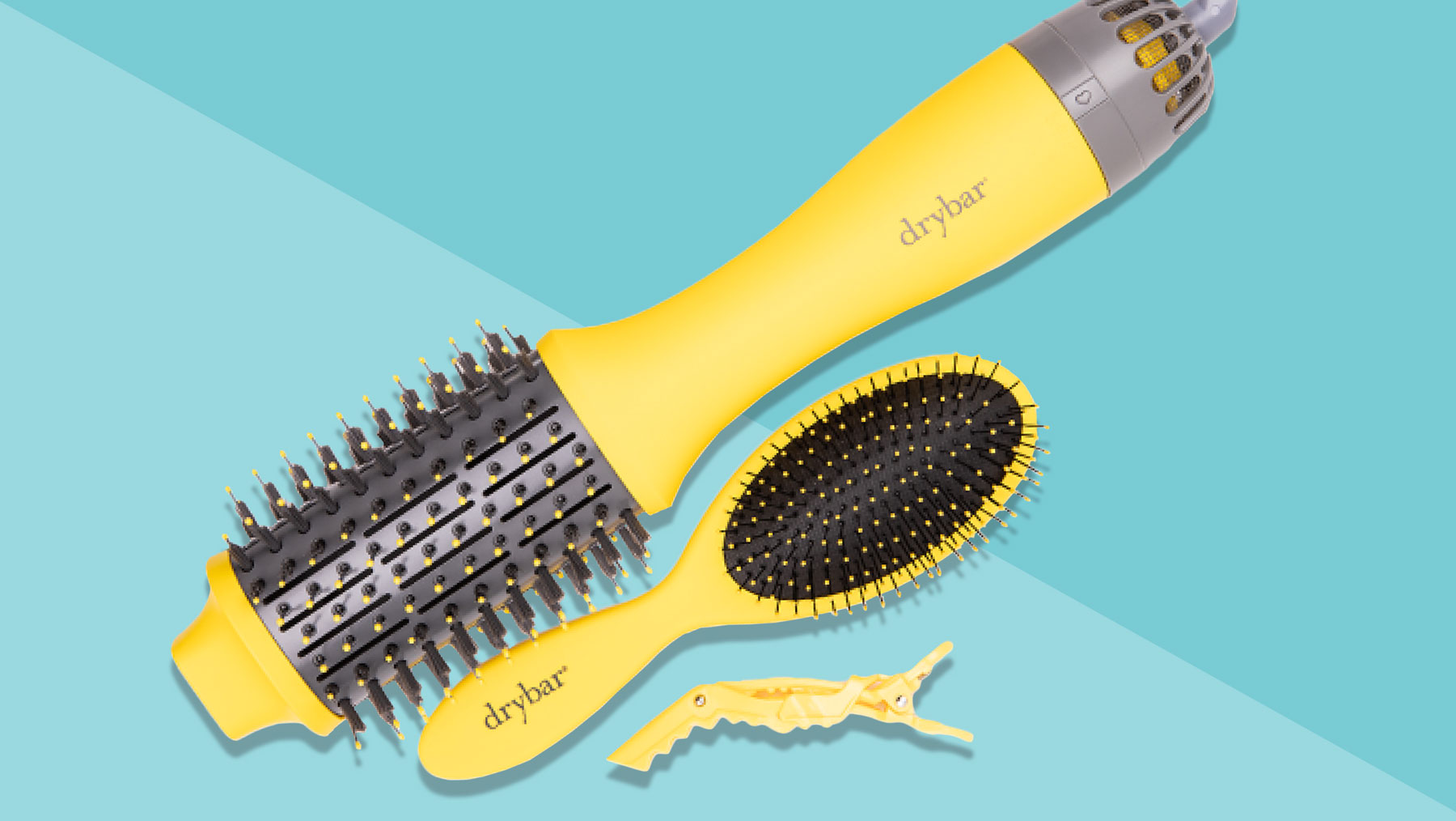Drybar Double Shot Blow Drying Brush review - brush and other brush and clip on blue background