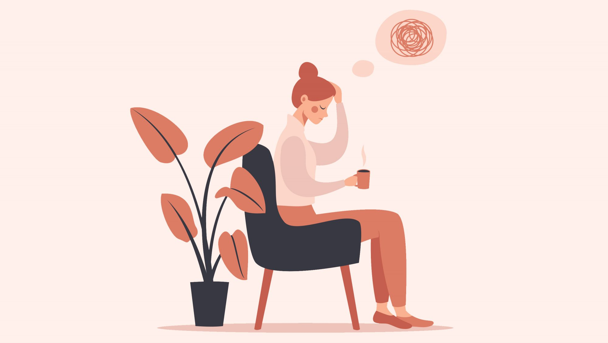 Anxiety Symptoms: illustration of woman with anxiety thought bubble