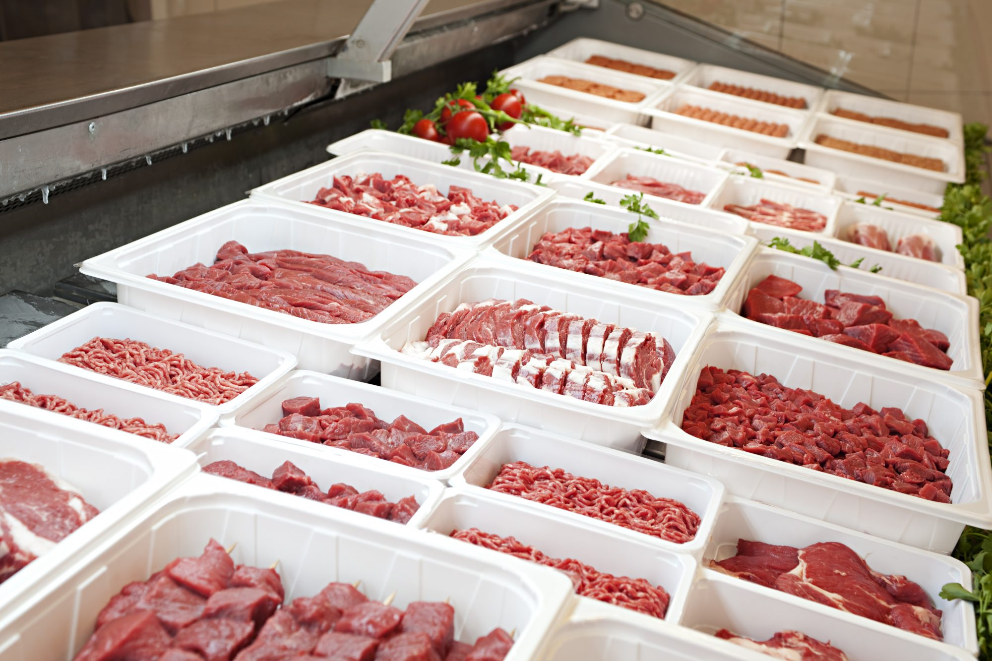 Butchers store and fresh meat: meat shortage