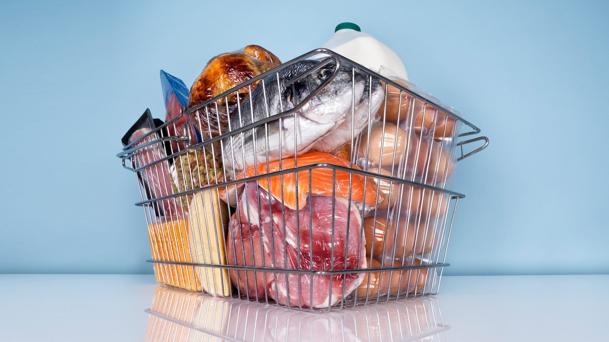 Wire basket full of high protein foods: save money on meat