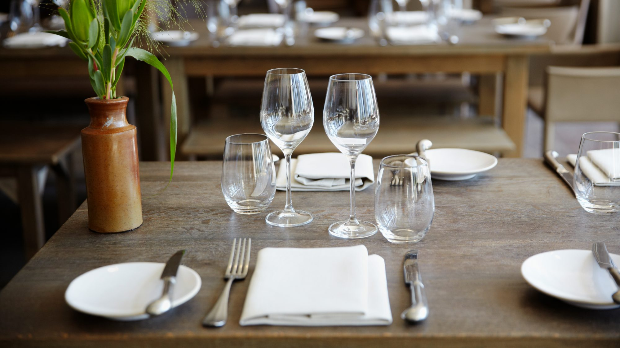 table setting: restaurant safety