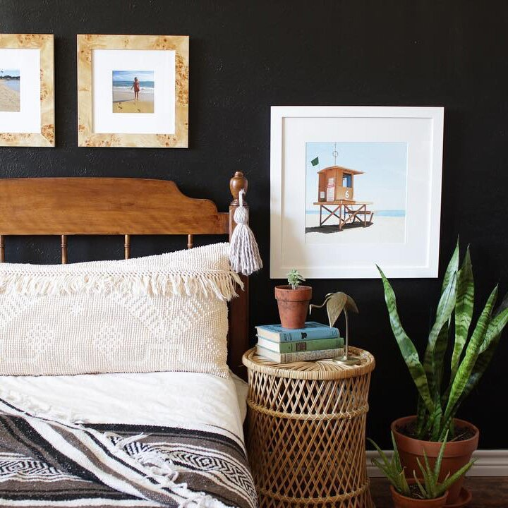 Tricorn Black paint color in cozy bedroom