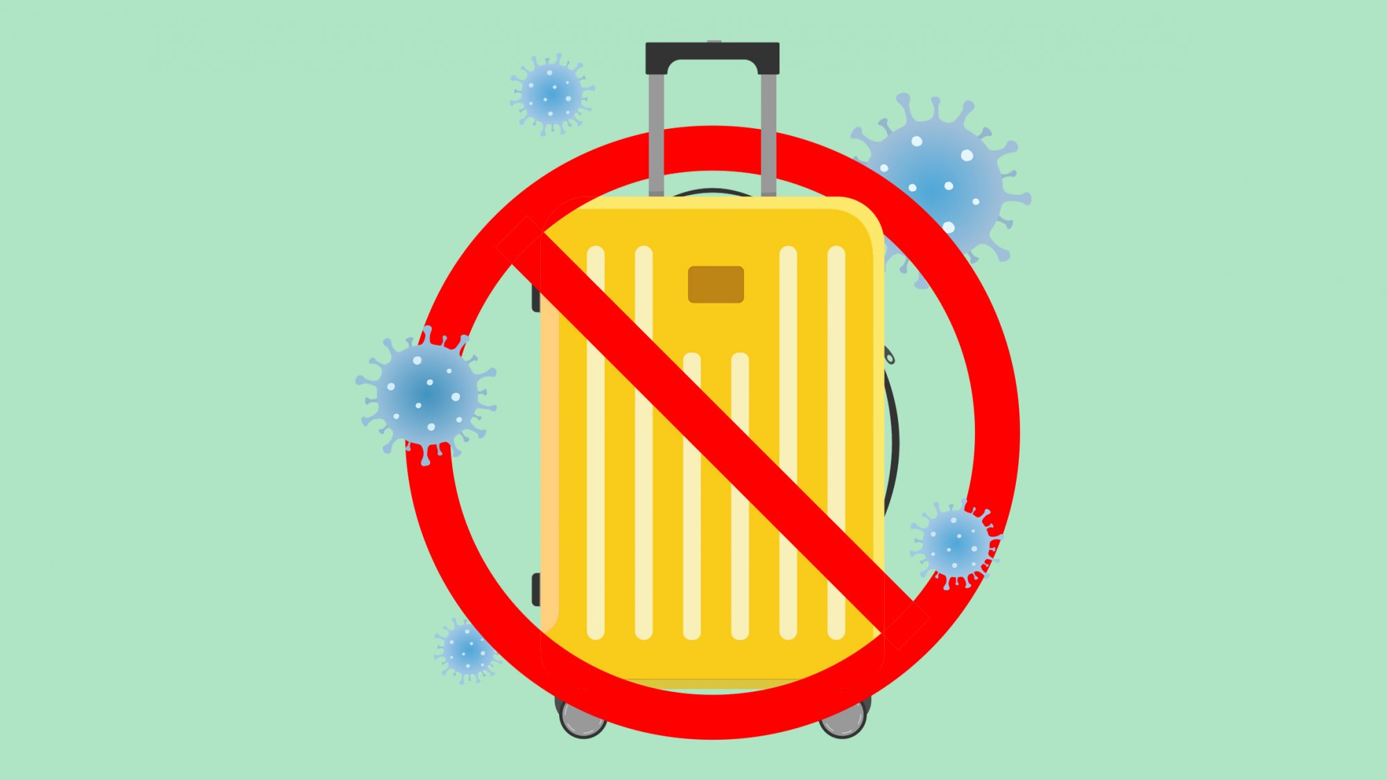 How to Handle Vacation Plans (Including Your Summer Vacation) During COVID-19 - travel planning, vacation cancellation, and more (suitcase with virus)