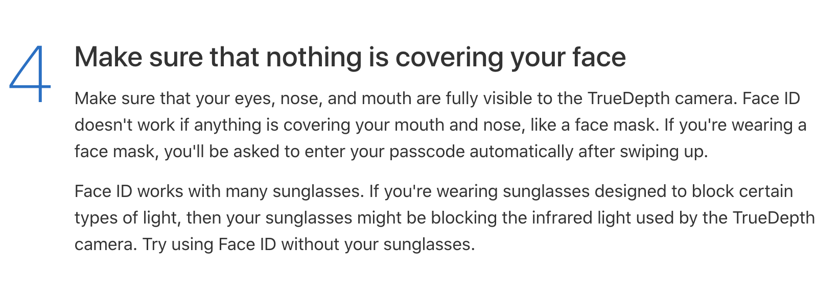 Apple Support for Face ID