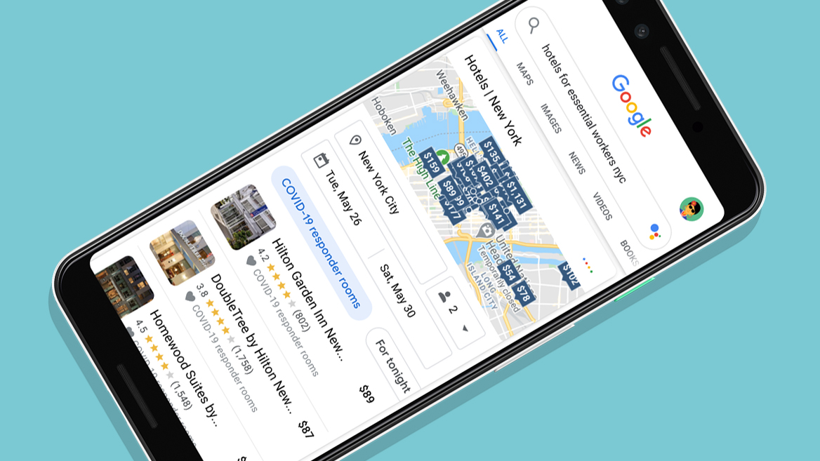 Google Maps and Search filter helps COVID responders find affordable hotel rooms