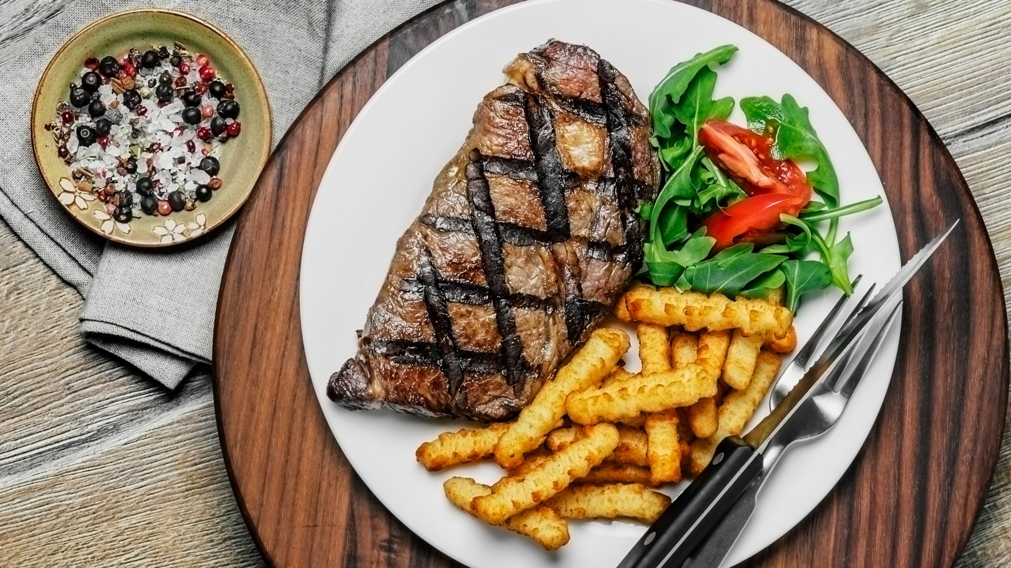 Steak with fries - father's day dinner grill menu