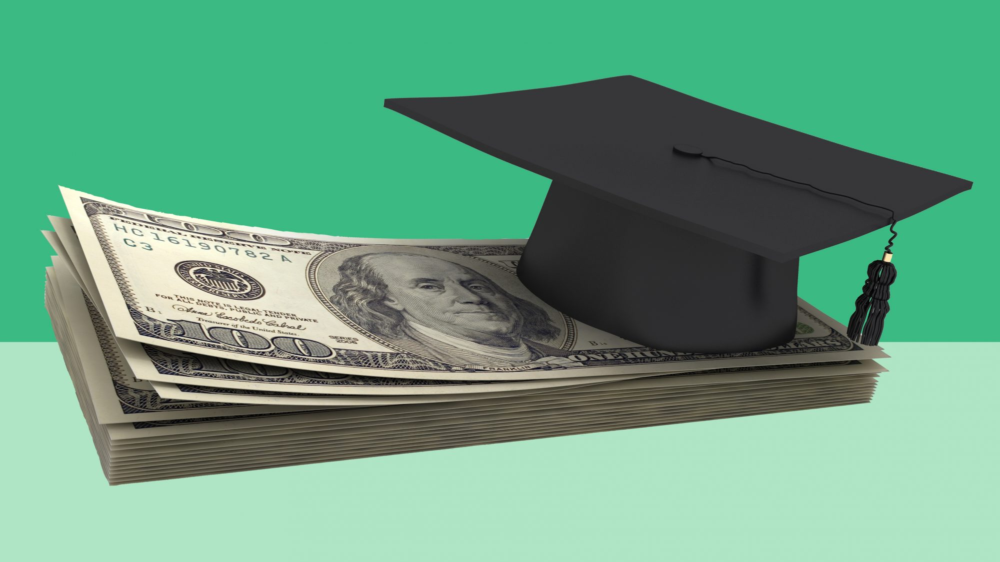 Paying for college: ways to pay for college (graduation cap and money)