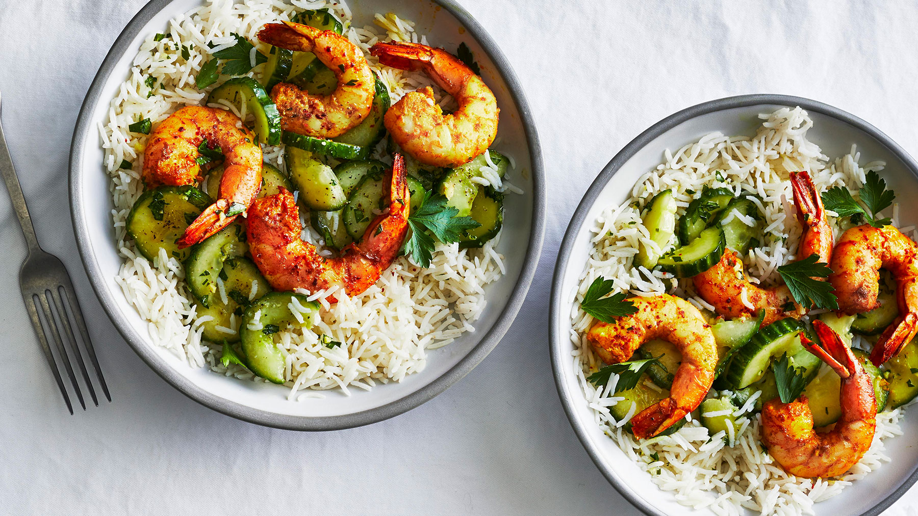 Indian-Spiced Shrimp With Cucumber Salad Recipe