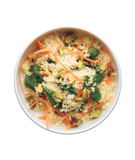 Sides for kebabs - Couscous salad with carrots and spinach