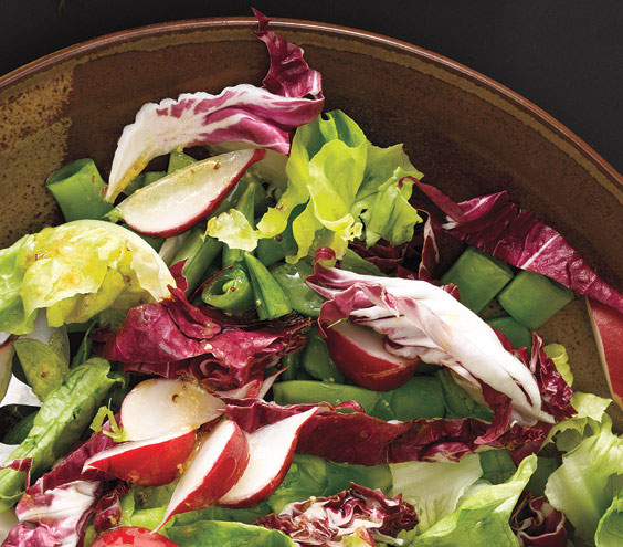 Sides for kebabs - Greens with radishes