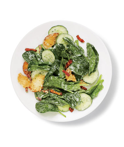 Sides for kebabs - Spinach and bacon salad