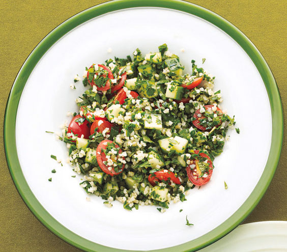 Sides for kebabs - Spinach tabbouleh salad