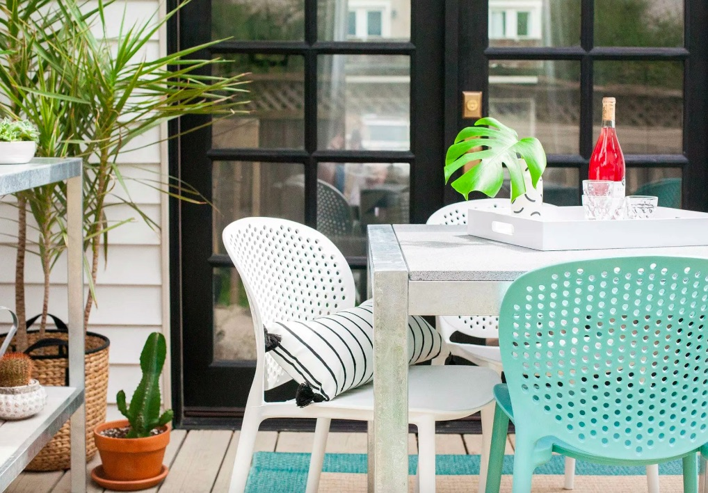 Article outdoor furniture with table and chair and plants