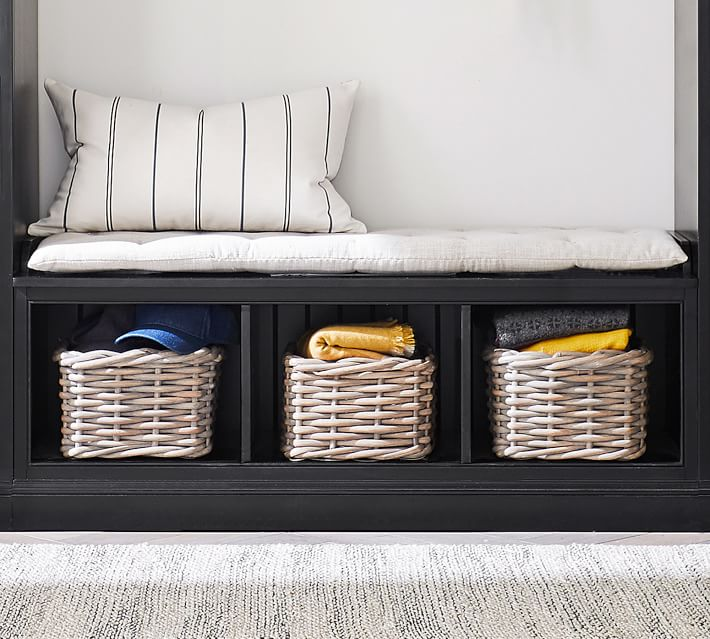 entryway storage bench with cubbies