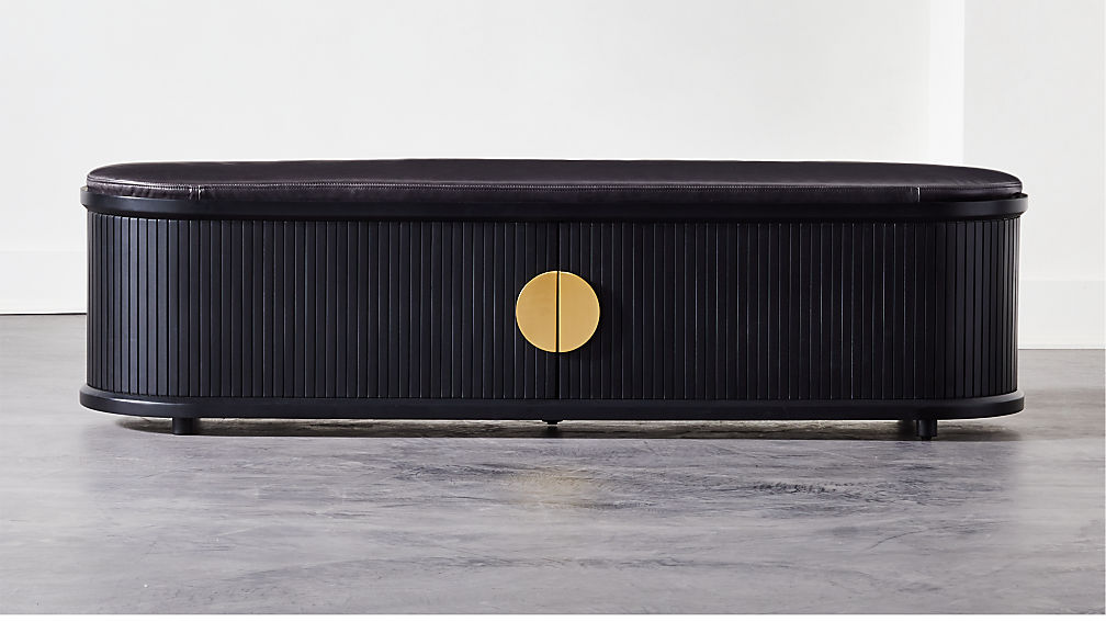 black with brass hardware storage bench from CB2