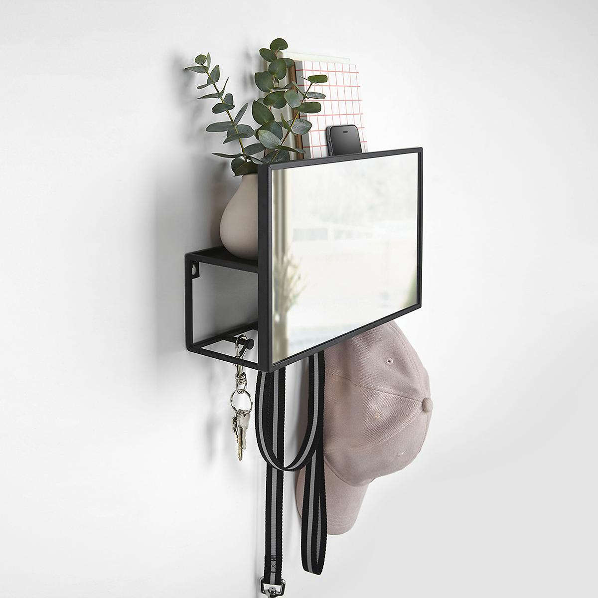 entryway mirror with hooks and tiny shelf