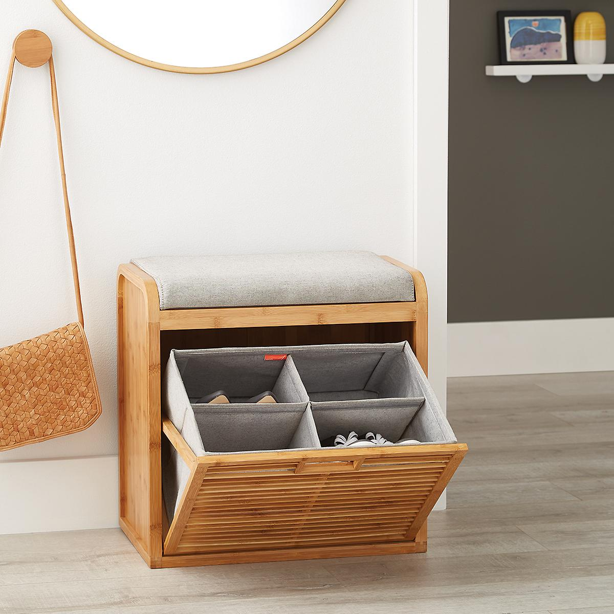 small wooden shoe storage bench