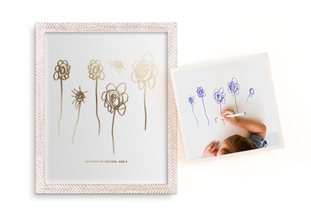 Kid's artwork in gold foil