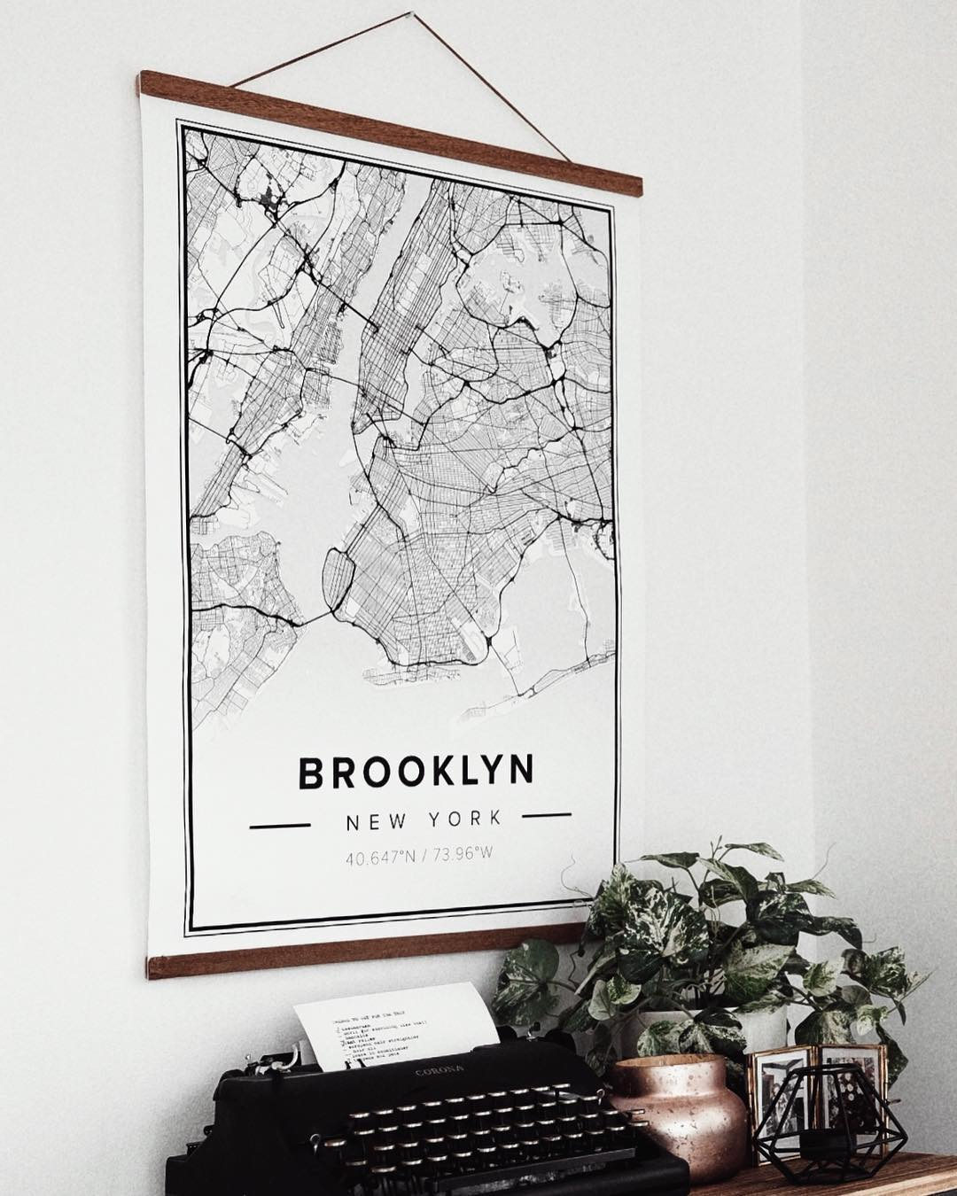 Mapiful map poster of Brooklyn in hanging frame