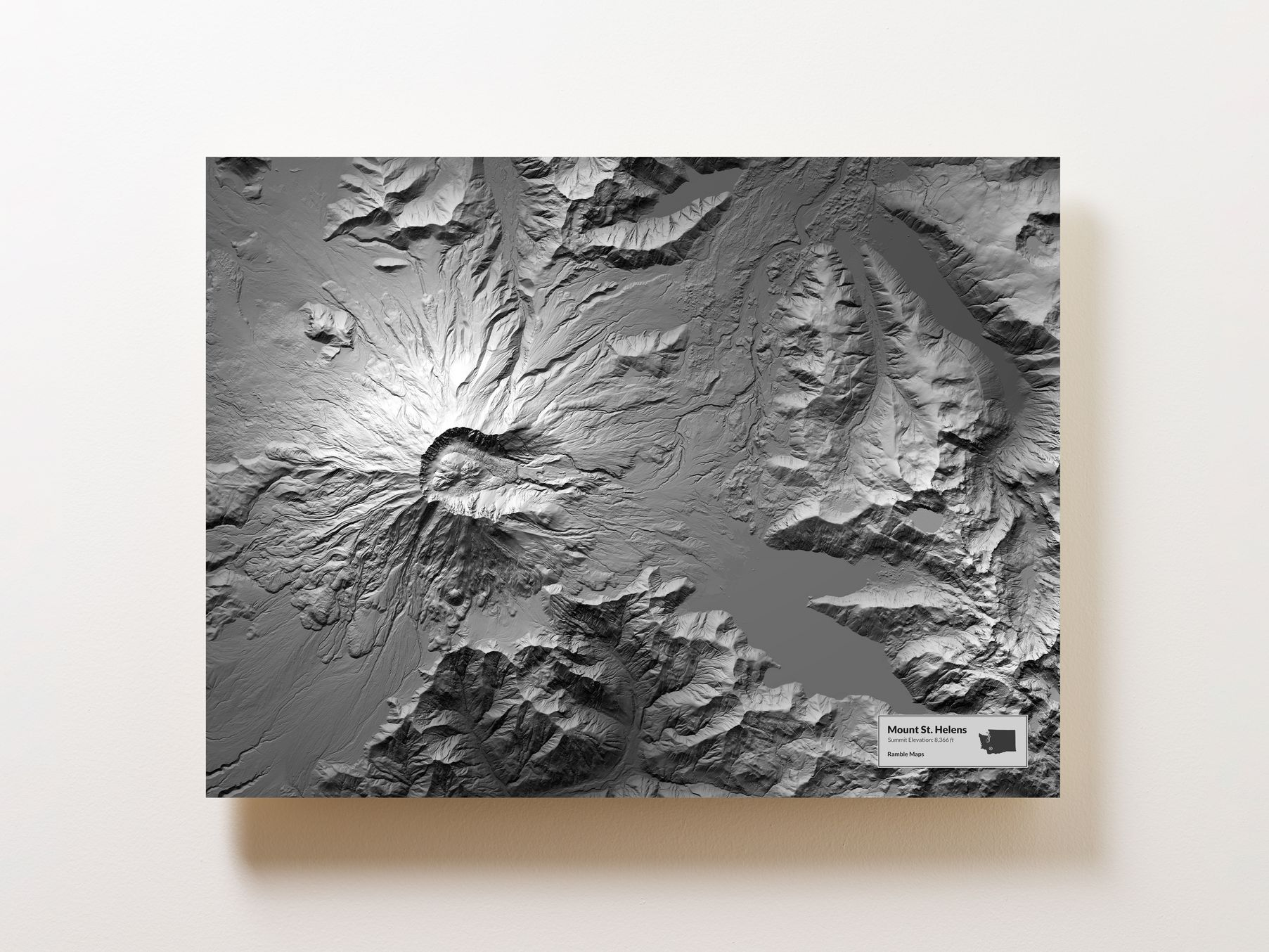 Elevation Map of Mount St. Helens, Ramble Maps