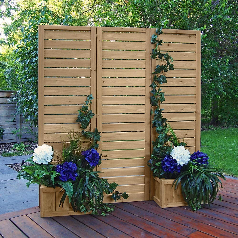 folding slatted privacy screen