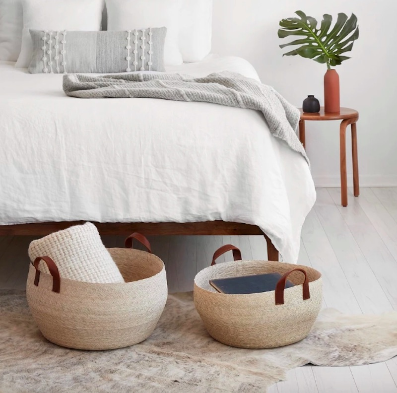 How to make cooler home, baskets in bedroom for spare blankets