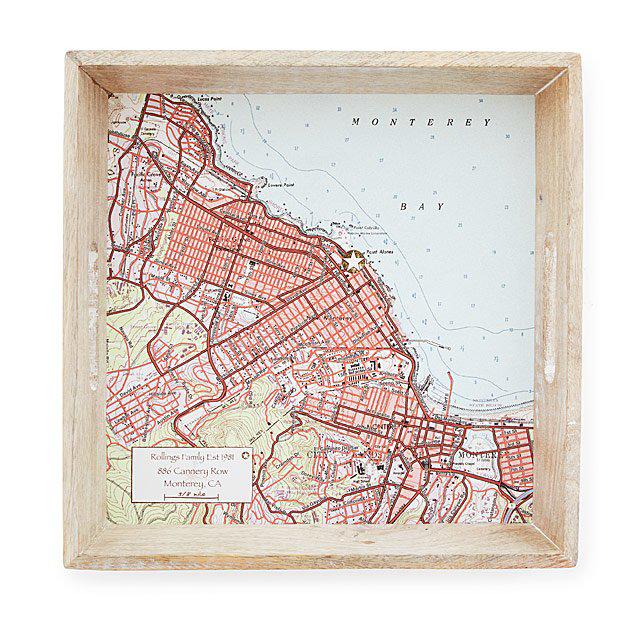 Best housewarming gifts - Unique, personalized etched serving tray map