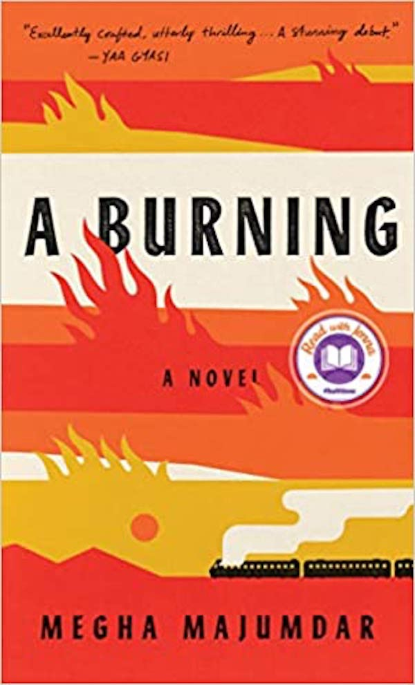 A Burning novel, book cover with flames