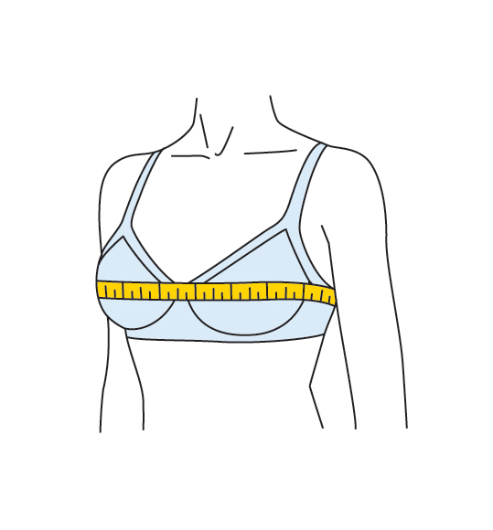 How to measure bra size: Graphic for how to determine bust size measurement