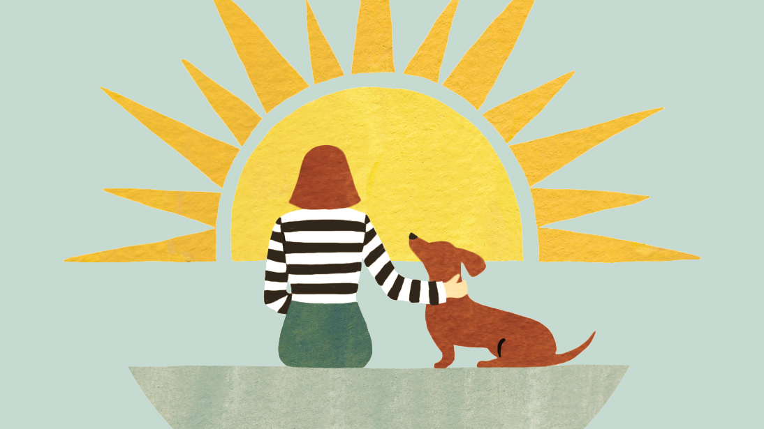 Karen Sandstrom deals with losing her pet: illustration of woman and her dachshund