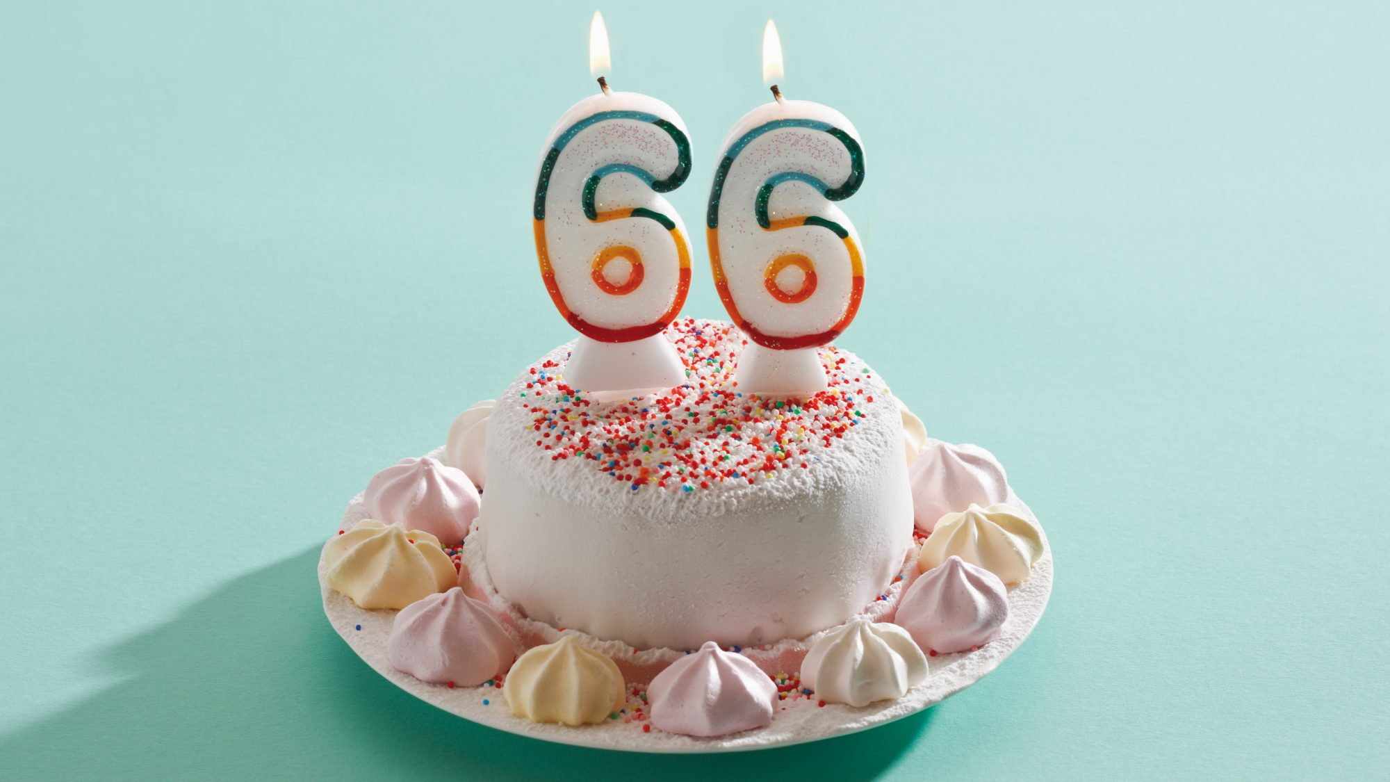 Financial peace of mind retirement study - cake with 66 on top