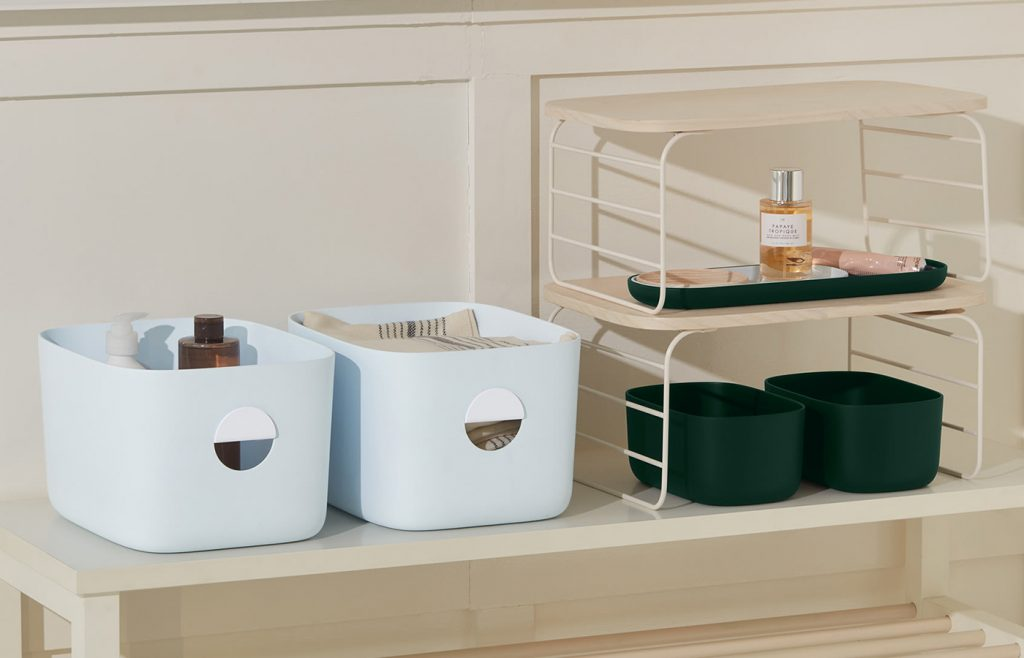 Open Spaces bins and wire shelf rack