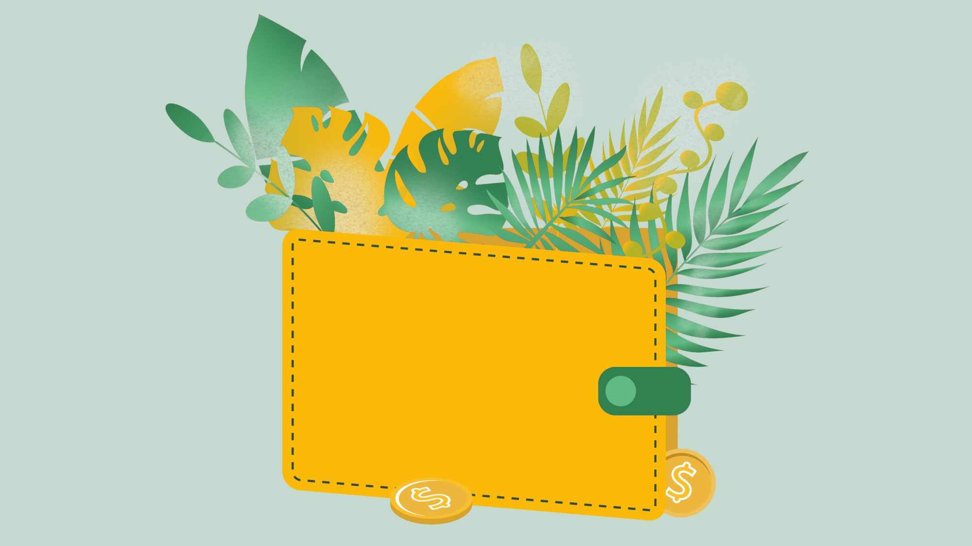 Yellow wallet with coins. Branches and leaves of plants. Flat illustration isolated on a white background. Finance, savings, currency, bank deposit.