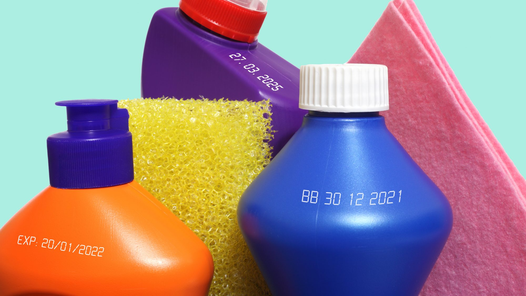 Cleaning Product Expiration Dates on bottles
