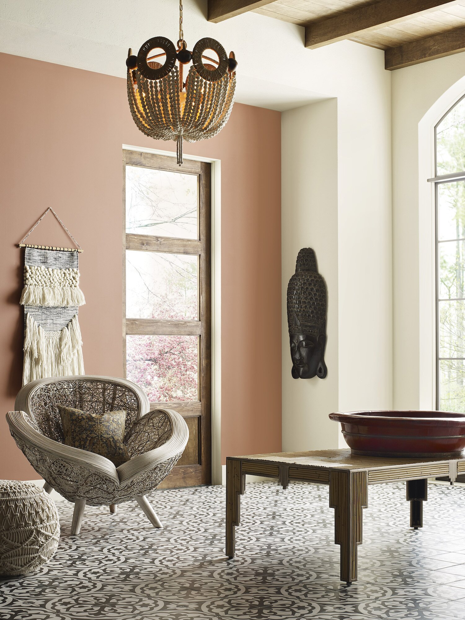 Room with clay colored paint