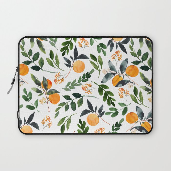 laptop sleeve with oranges and leaves